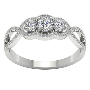 3 Stone Engagement White Gold Ring Prong Set-DTR150 TR-133-2