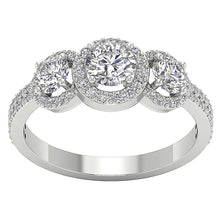 Load image into Gallery viewer, Designer Three Stone Wedding Ring Natural Round Diamond I1 G 1.60 Carat Prong Set Width 8.20MM