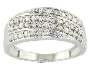 Right Hand Designer Wedding Ring I1 G 0.60 Ct Natural Round Diamond 14k White Gold Prong Set 7.85MM