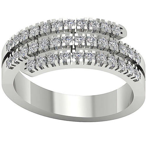 Right Hand Designer Wedding Ring SI1 G 1.01 Ct Natural Diamond 14k White Gold Prong Set 7.80MM