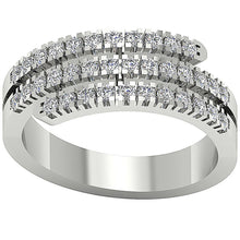 Load image into Gallery viewer, 3 Row Anniversary 14k Solid White Gold Ring-RHR-45-1