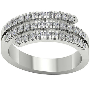 3 Row Anniversary 14k Solid White Gold Ring-RHR-45-1