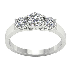 Load image into Gallery viewer, 3 Stone Wedding White Gold Ring Top View-TR-102A-1