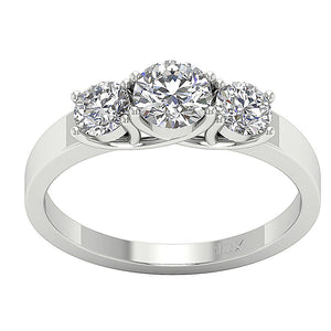3 Stone Wedding White Gold Ring Top View-TR-102A-1