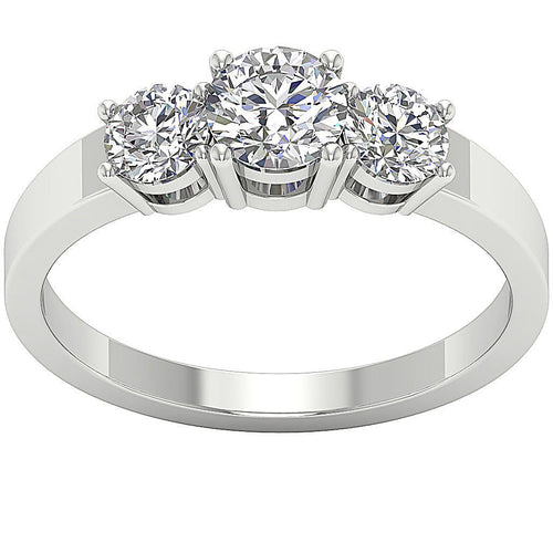 Prong Set Three Stone White Gold Ring-TR-86-2