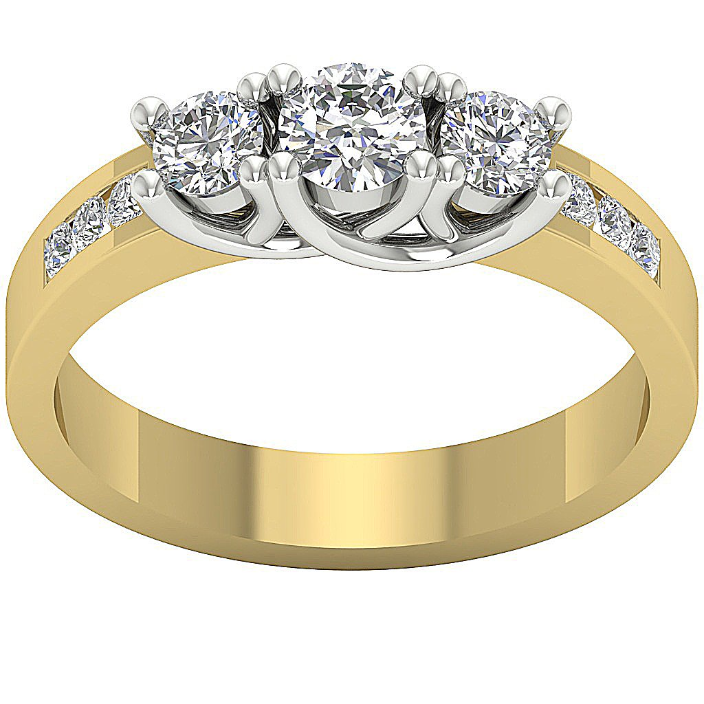 Designer Three Stone Wedding Ring Real Diamond I1 G 0.65Ct Prong Channel Set 14k Yellow Gold 4.00MM