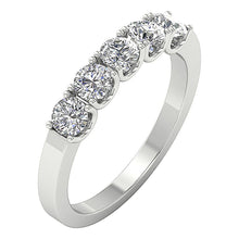 Load image into Gallery viewer, Designer Five Stone Wedding Ring SI1 G 1.00 ct Natural Diamond 14k Yellow Gold