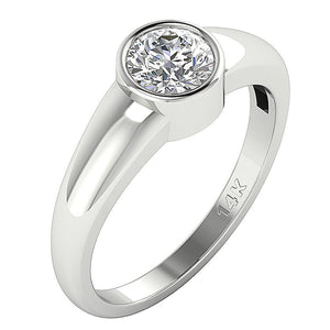 Side View Solitaire Ring Real Diamond 14k Gold-DSR154-SR-656-3