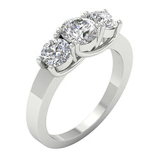 Load image into Gallery viewer, Three Stone Wedding Ring 14k White Gold Side View-TR-102-2