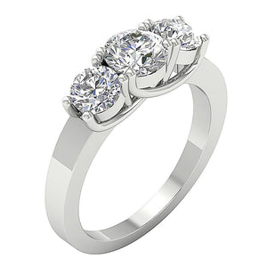 Three Stone Wedding Ring 14k White Gold Side View-TR-102-2