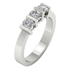 3 Stone Engagement Ring 14k Gold Side View-TR-64-2