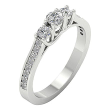 Load image into Gallery viewer, Side View Three Stone Engagement Ring White Gold-TR-90-2