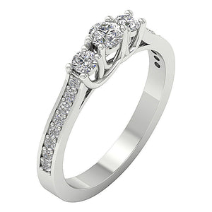 Side View Three Stone Engagement Ring White Gold-TR-90-2