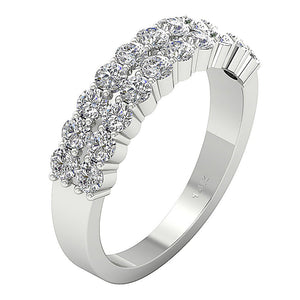 Designer Anniversary Ring 14k White Gold SI1 G 2.10 Ct Natural Round Diamond