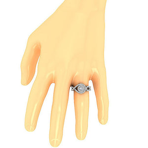 Natural Diamond Accent With Solitaire Ring on Hand-SR-1040-6
