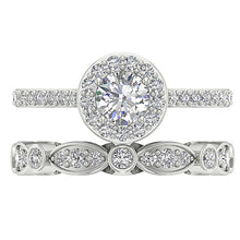 Load image into Gallery viewer, Natural Diamond Ring 14k White Gold Bridal Ring Set-CR-214