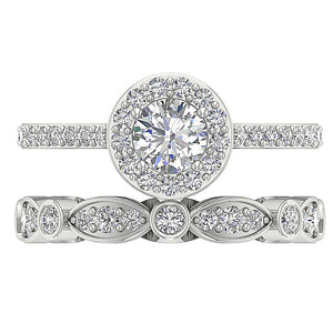 Natural Diamond Ring 14k White Gold Bridal Ring Set-CR-214