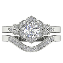 Load image into Gallery viewer, Natural Diamond Ring 14k White Gold Bridal Ring Set Top View-DCR124