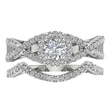 Load image into Gallery viewer, 14k White Gold Halo Anniversary Prong Set Ring-DCR133