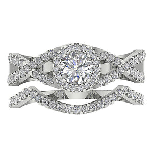 14k White Gold Halo Anniversary Prong Set Ring-DCR133