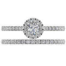 Load image into Gallery viewer, Designer Halo Wedding Ring Natural Diamond Prong & Pave Set SI1 G 1.00 Ct
