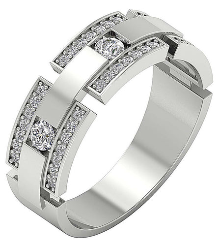 14k Solid Gold Natural Diamond Mens Anniversary Ring SI1/I1 G 0.85Ct Prong & Bar Set Width 7.45MM