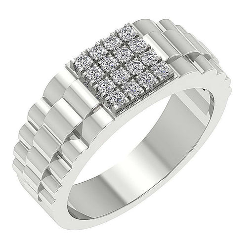 Mens Wedding Ring SI1/I1 G 0.55Ct 14k Solid Gold Round Diamond Prong Set Width 9.10MM