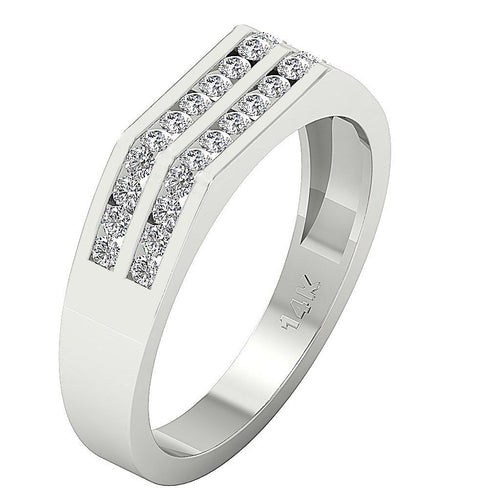 VVS1/VS1 E 0.60Ct Mens Wedding Ring 14k Solid Gold Natural Diamonds Channel Set Width 5.00MM