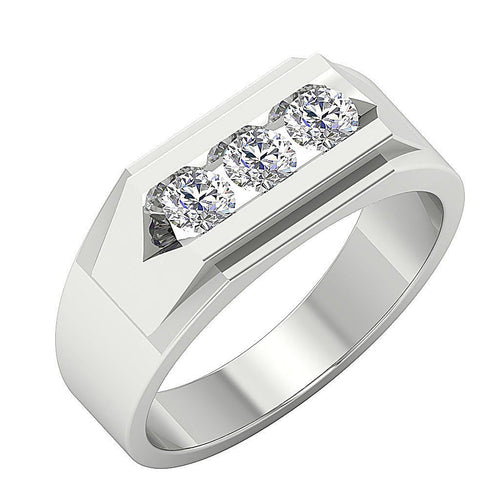 SI1/I1 G 0.50Ct 14k Solid Gold Mens Wedding Ring Natural Diamonds Channel Set Width 6.90MM