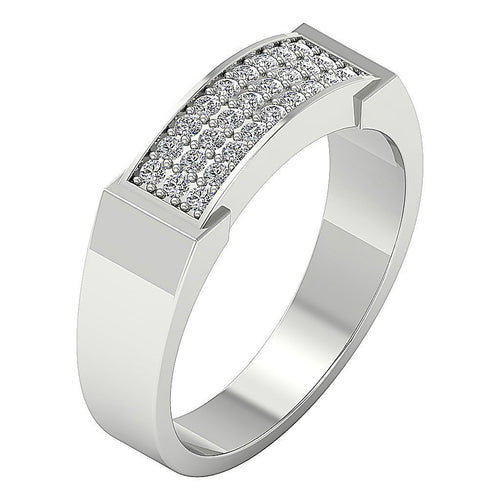 Mens Engagement Ring Natural Diamond Pave Set 14k Solid Gold I1 G 0.35Ct