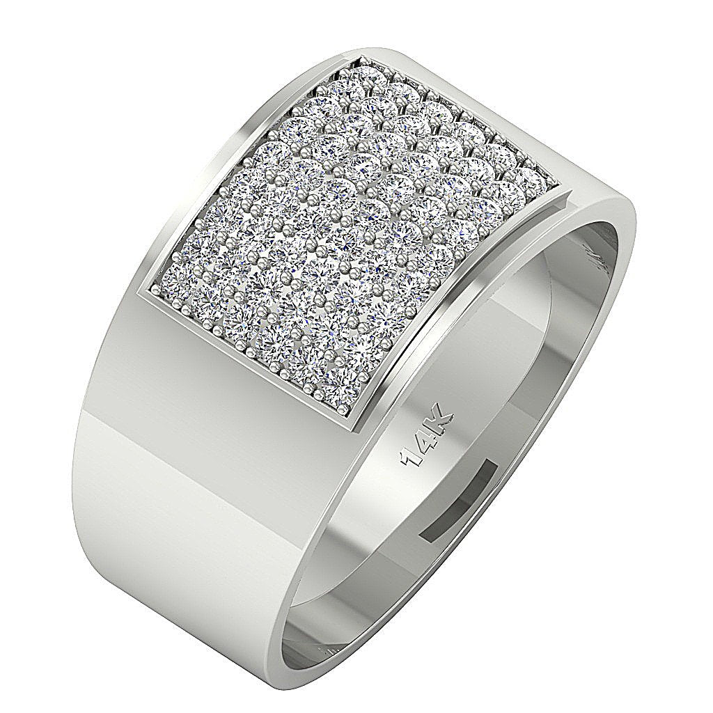 14k Solid Gold Mens Anniversary Ring SI1/I1 G 1.00Ct Natural Diamonds Pave Set Width 12.85MM