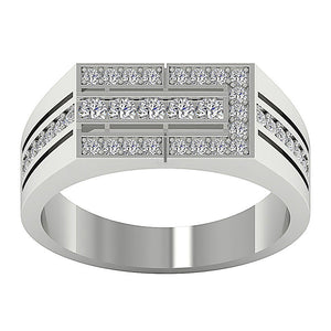Mens Wedding Ring VVS1/VS1 E 0.70Ct 14k Solid Gold Natural Diamonds Channel Set Width 8.00MM