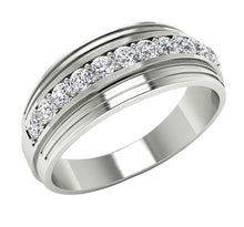 Load image into Gallery viewer, Mens Wedding Ring VVS1/VS1 E 0.55Ct 14k Solid Gold Natural Diamonds Channel Set Width 7.70MM