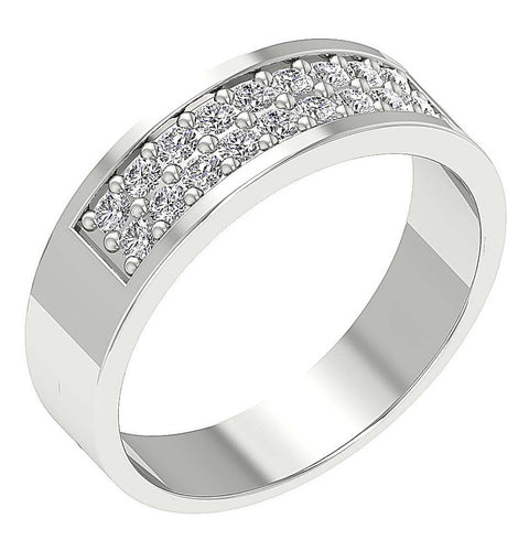 Round Diamond Ring White Gold-MR-87