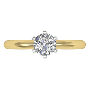Top View Diamond Solitaire Ring Yellow Gold-SR-23-8