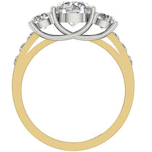 Load image into Gallery viewer, 14K Two Tone Gold Three Stone Wedding Ring Natural Diamond SI1 G 1.70 Ct Prong & Channel Set 5.40MM