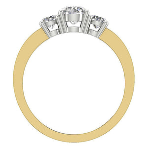 Natural Diamond 14K Two Tone Gold Ring Front View-DTR42-TR-116B-3