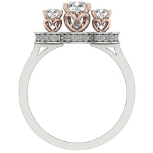 Load image into Gallery viewer, Round Cut Diamond 14K Two tone Gold Ring Front View-DTR156-1