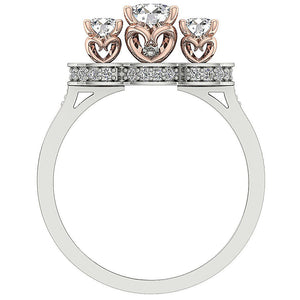 Round Cut Diamond 14K Two tone Gold Ring Front View-DTR156-1