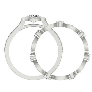SI1 G 2.45 Ct Designer Halo Bridal Ring Set Natural Diamond Prong & Bezel Set