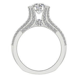 Natural Diamond 14k White Gold Ring Front View-DCR109