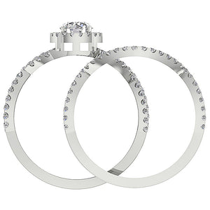 Round Diamond 14k White Gold Ring Front View-DCR133