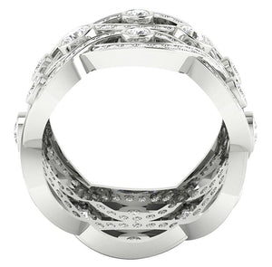 Front View 14k White Gold Ring-DETR203