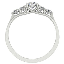 Load image into Gallery viewer, Designer Five Stone Engagement Ring I1 G 0.80 ct Natural Diamond 14k White Gold
