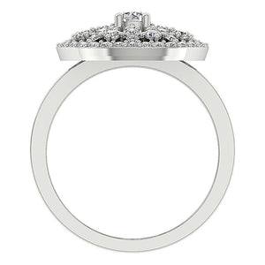 Round Cut Diamond White Gold Ring Front View-DRHR3-4