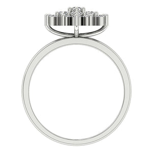 Front View Earthmined Diamond White Gold Ring-DRHR6-4