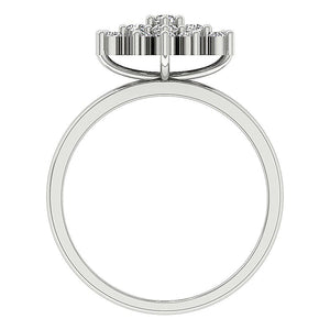 Genuine Diamond White Gold Ring Front View-DRHR6-4