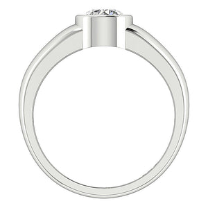 White Gold Ring Round Diamond Front View-DSR154-SR-656-2