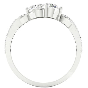 Front View White Gold Two-Stone Ring-DSR337