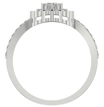 Load image into Gallery viewer, Accent With Double Halo Solitaire Round Cut Diamond Ring I1 G 0.85 Ct Prong Set Solid Gold 10.25MM